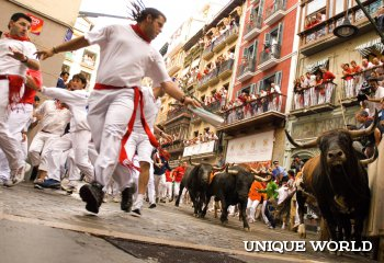 Ежегодный забег быков в Испании, как вид экстремального отдыха